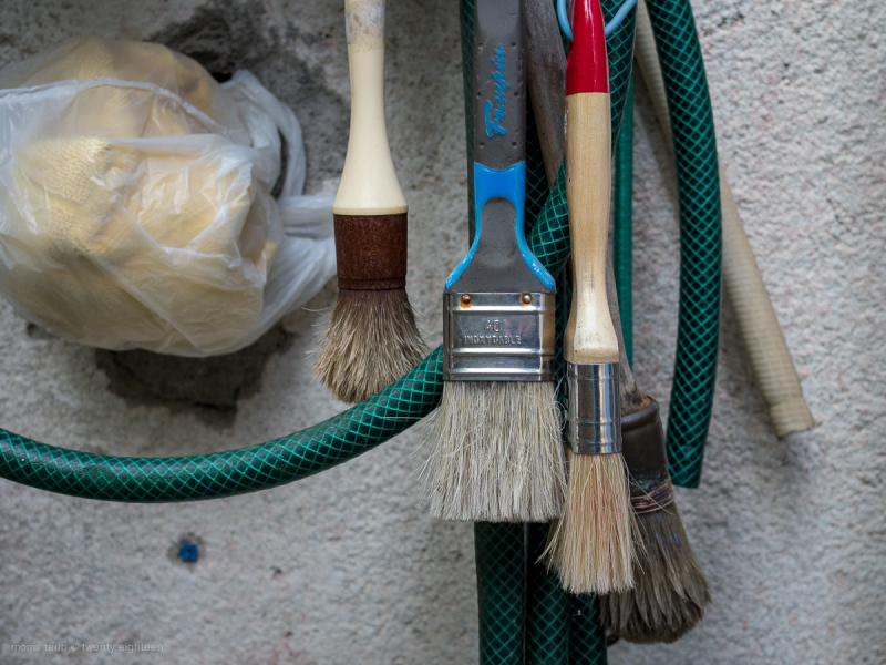 Paint brushes hanging. Garden hose. Green.