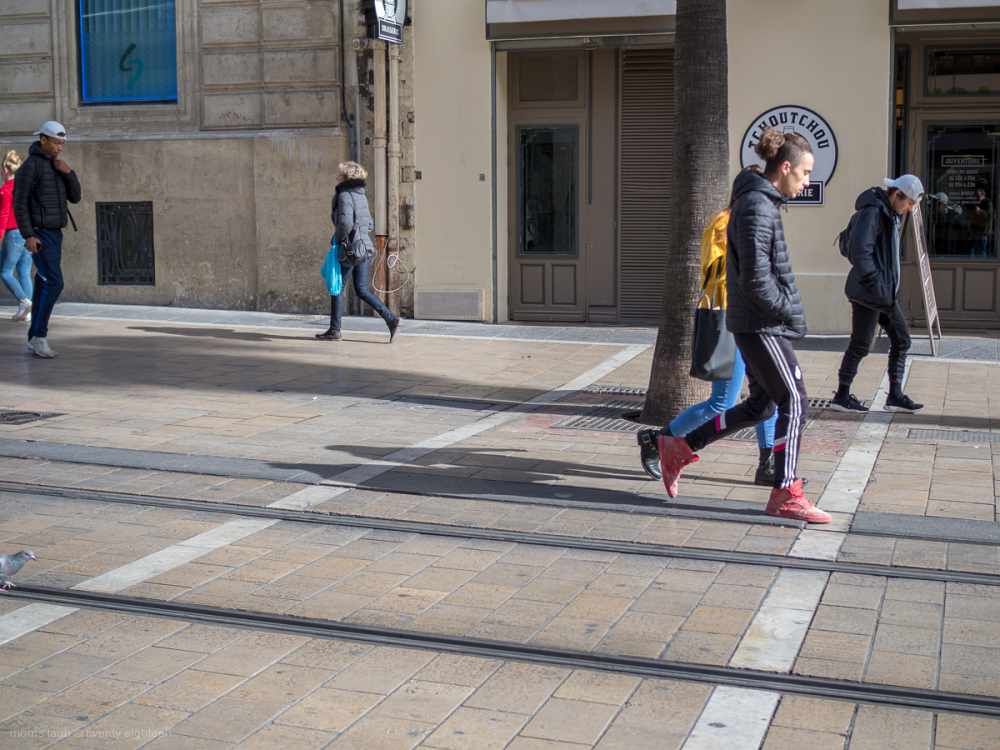 Walking the streets of Montpellier, France.