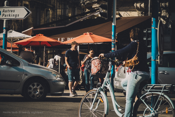 Busy city scene in Montpellier, France.