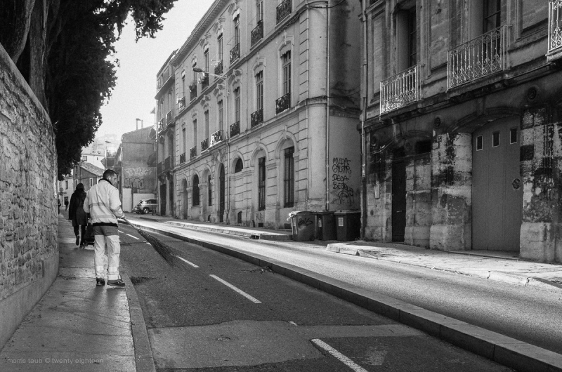 Street cleaner in France.
