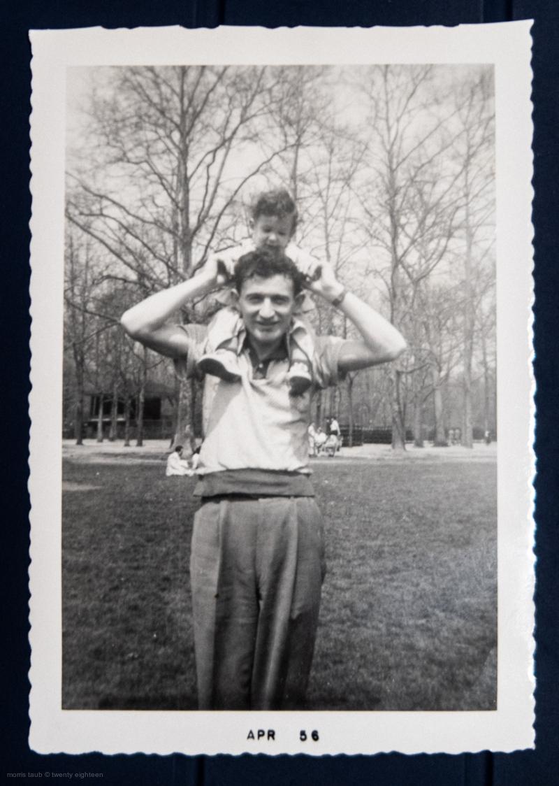 Me on dad's shoulders, April 1956.