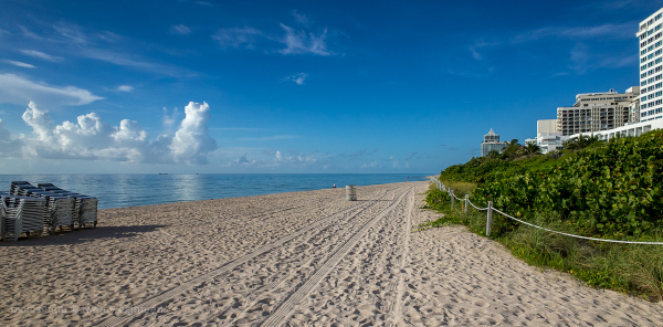 Miami Beach morning sand and sea.