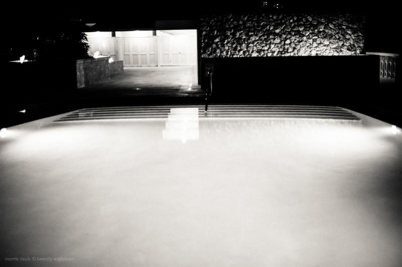 Dad's pool at night.