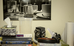 Part of my work area from 7 September 2013.