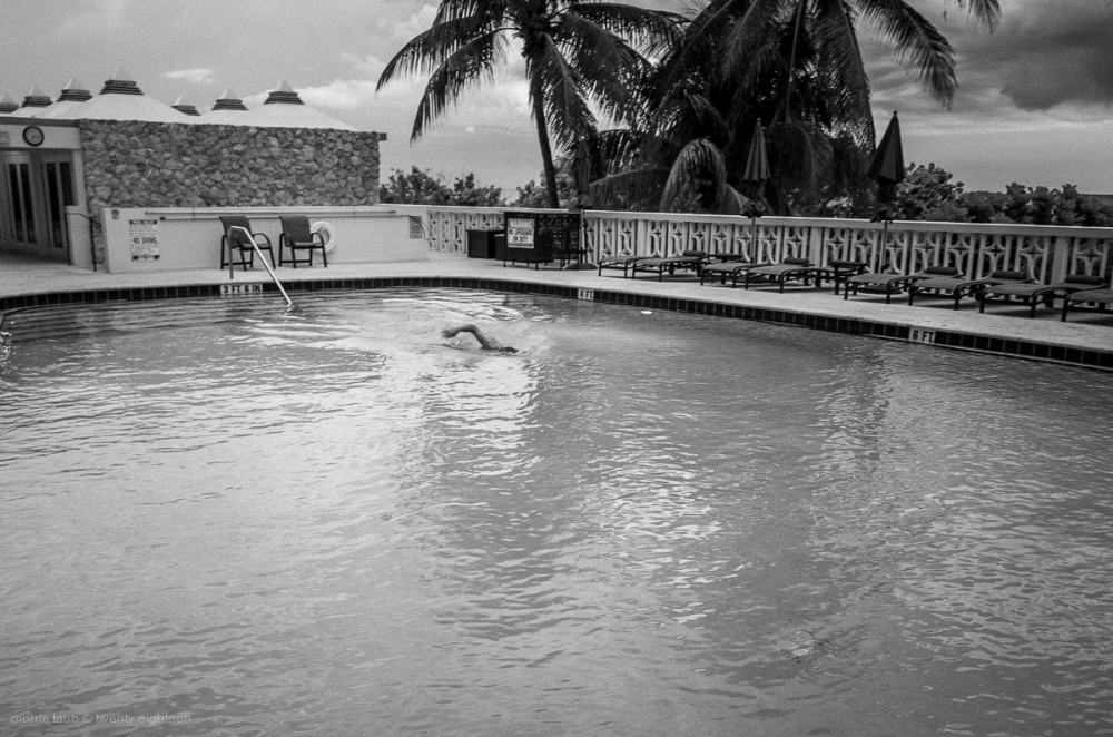 Morning swim in black and white. Miami Beach.