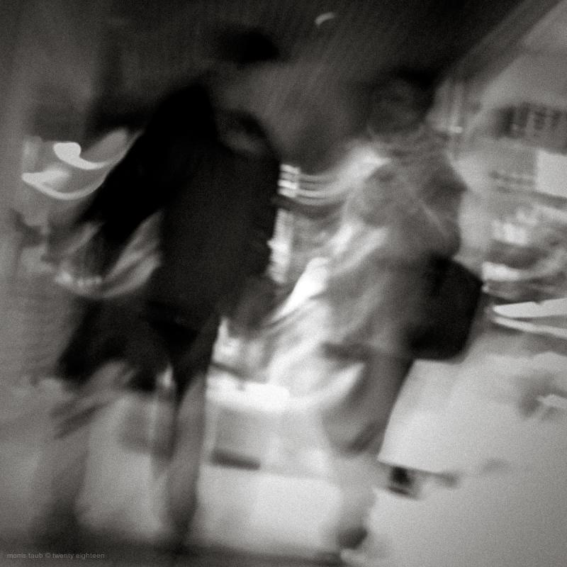 Friends walking, talking.