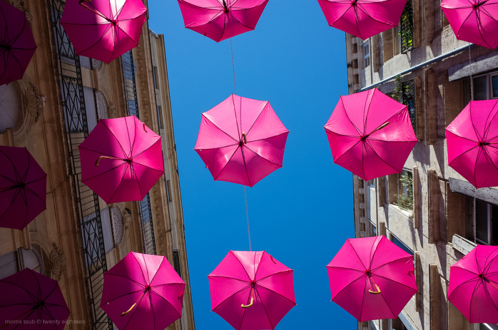 Pink umbrellas installation to fight breast cancer