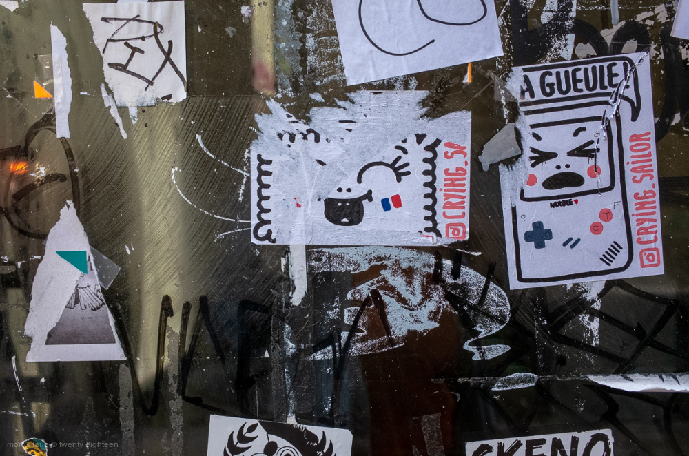 Window with stickers.