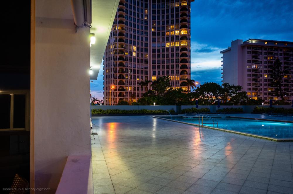Pool at night. Miami Beach, Florida.