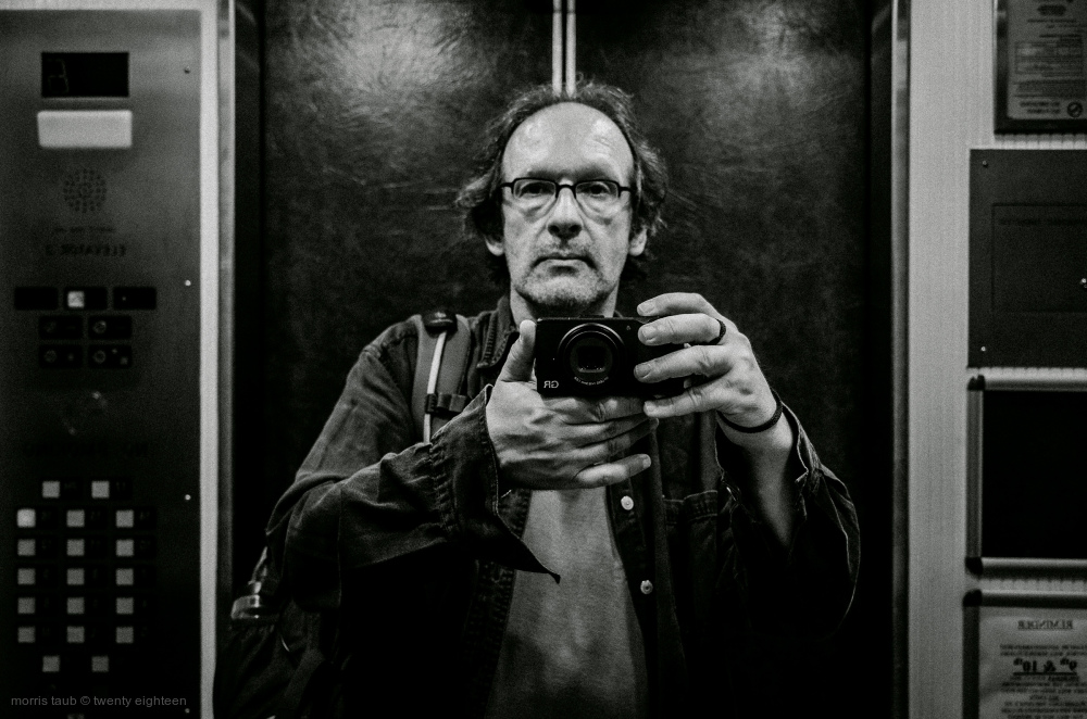 Self portrait in elevator. Miami Beach, Florida.