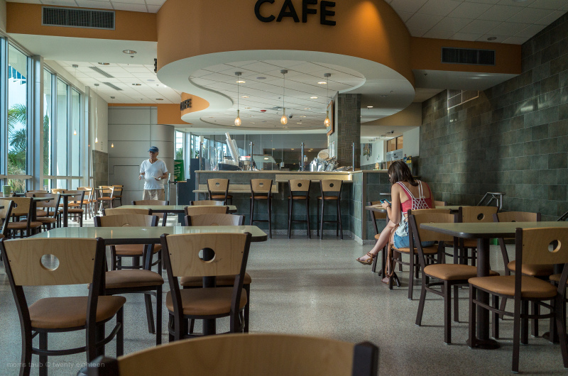 People in an indoor cafe at Publix in Miami.