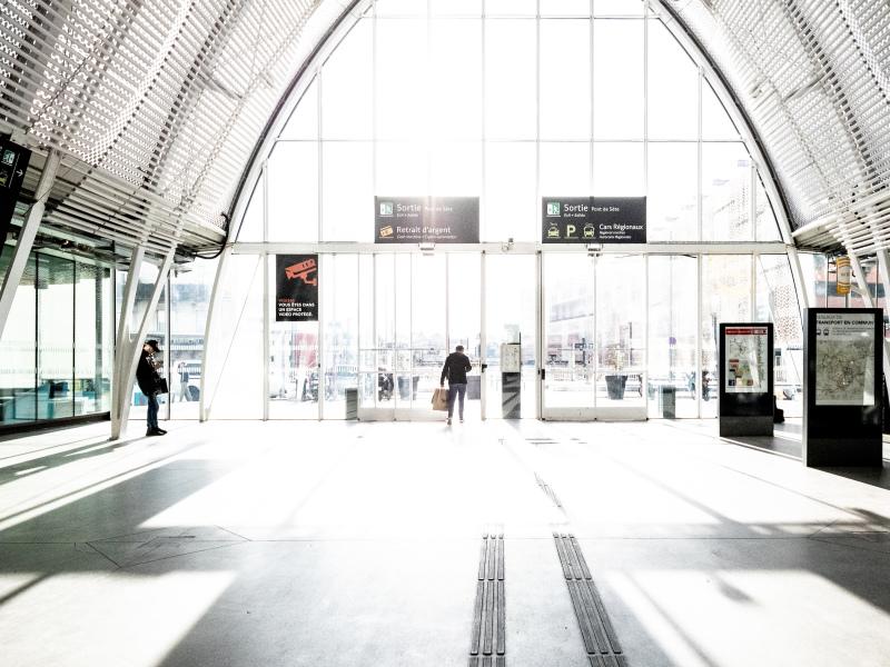Sunlit train station in France.