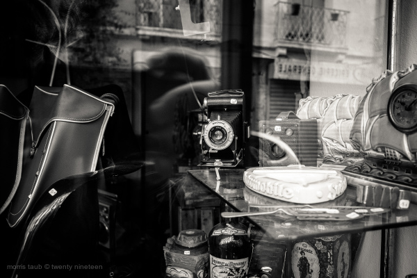 Old Brownie camera in store window.