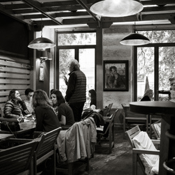 Cafe late in afternoon.
