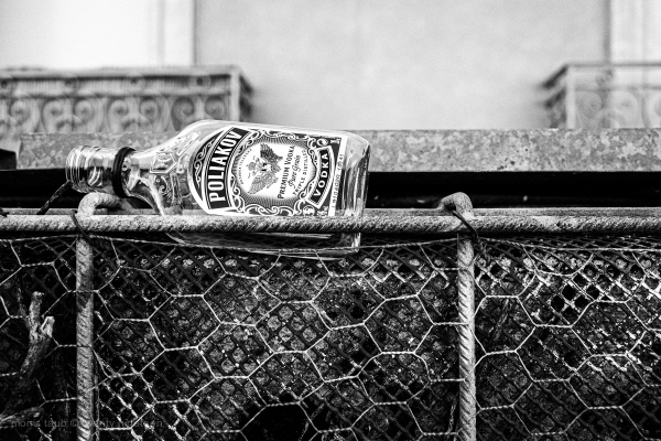 Empty vodka bottle on a fence.