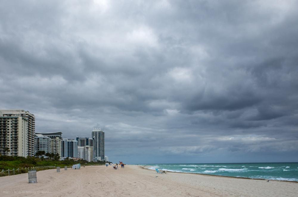 Gray sky over Miami Beach, Florida.