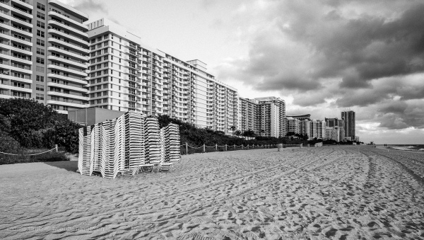 Miami Beach Florida in winter. Black and white.
