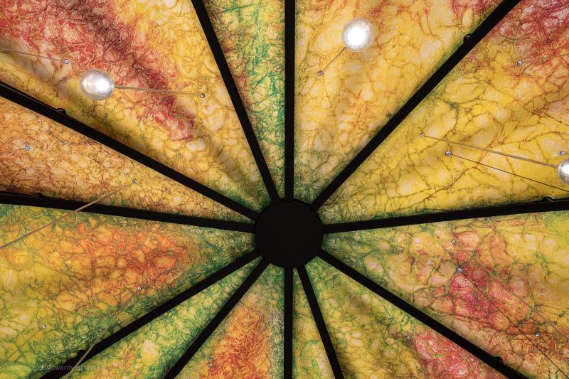 Ceiling design inside a food market.