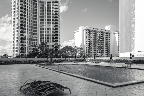 Miami Beach florida in winter light. Black white.