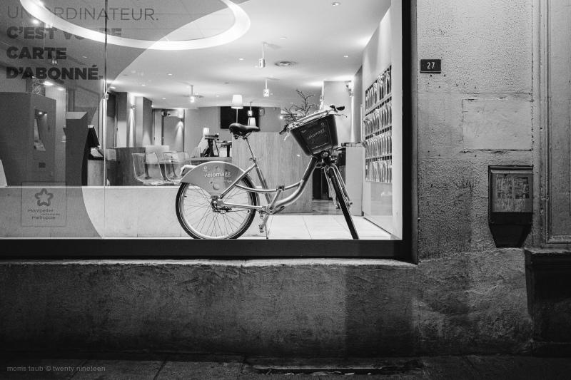 Bike in tam window, montpellier france.