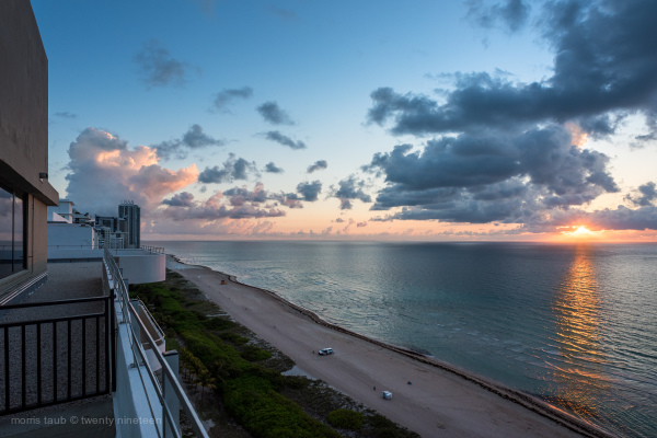 Looking north up the coast Miami Beach, Florida.