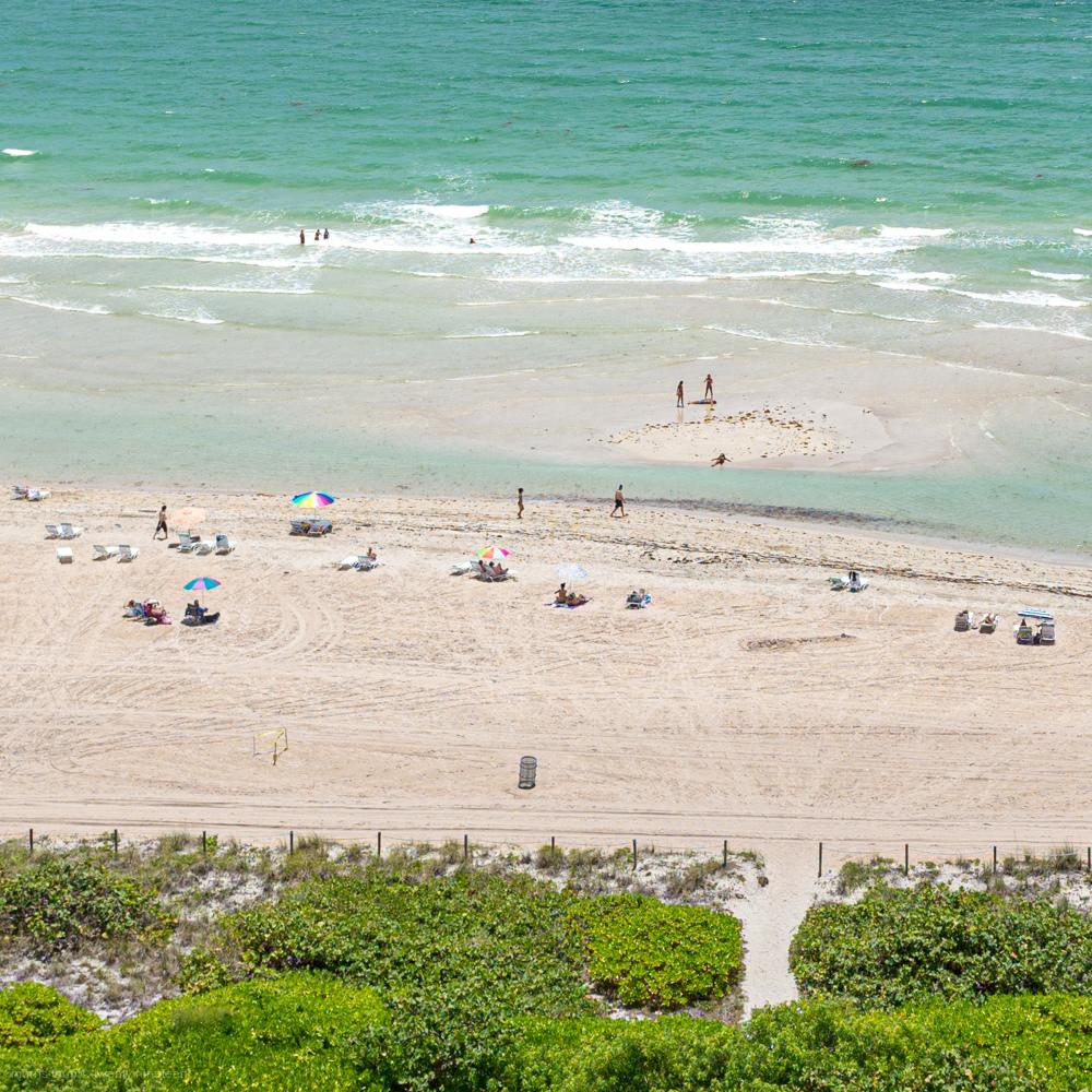 Sunbathing on Miami Beach in Florida.