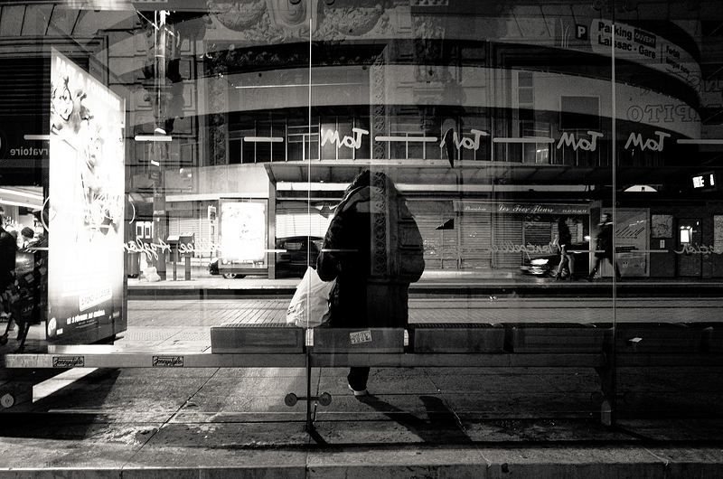 Waiting for the tram to come.