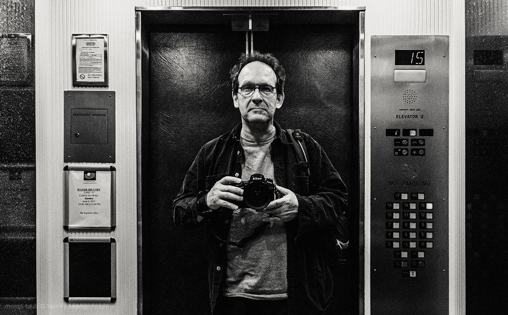 Self-portrait in elevator.