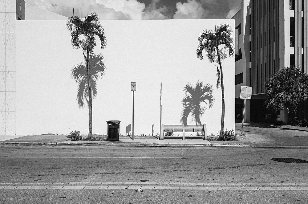 Bus stop off 41st street, Miami Beach, FLA.