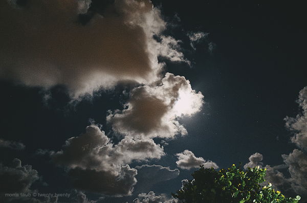 Moon and clouds over Miami.