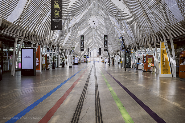 Empty train station by covid-19.