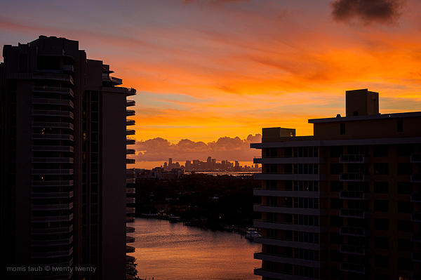 Sunset from my parents old apartment miami beach.