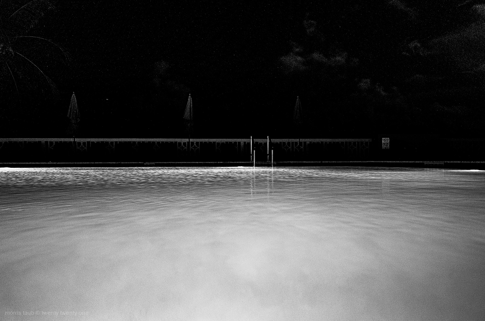 Night scene at pool behind our building.