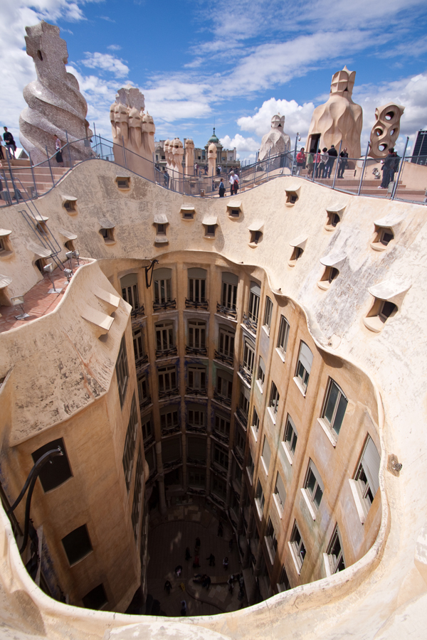 Wide andle shot of a Gaudi roof