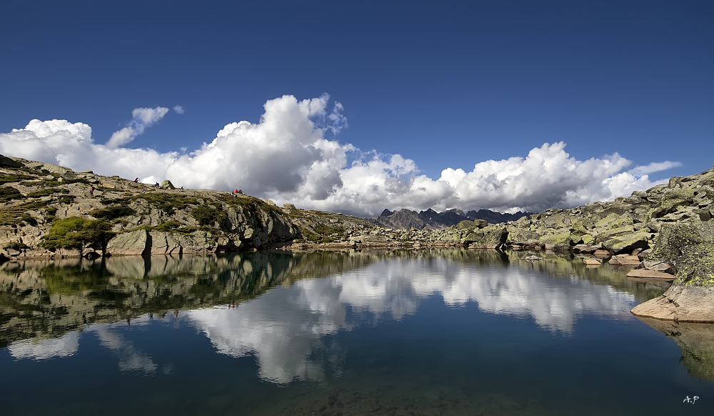 lac bleu, reflection, clouds