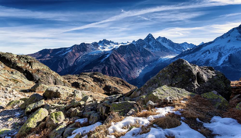 Vue sur la chaine des Alpes