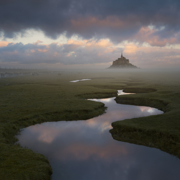 Lever de soleil sur le Mont St Michel