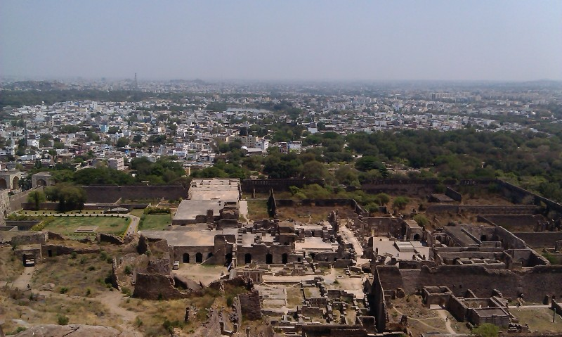 View from the top of Golconda fort - clear difference between the city and the fort