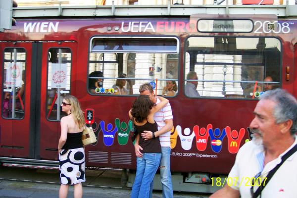 Kissing, tram, couple, love