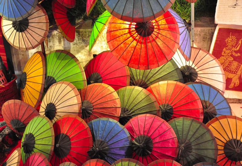 colored umbrela