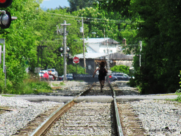 running away on tracks