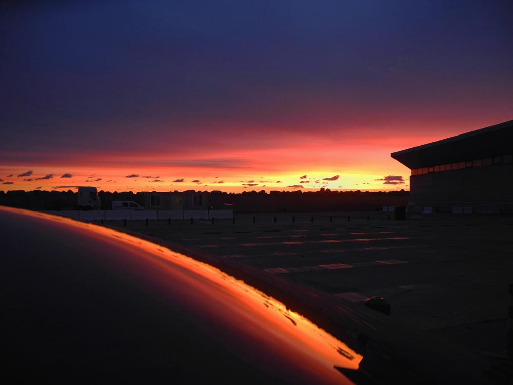 carrosserie, soleil levant