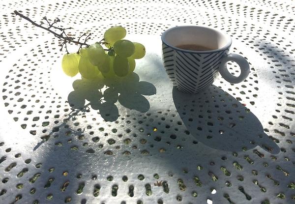 petit café dans le jardin