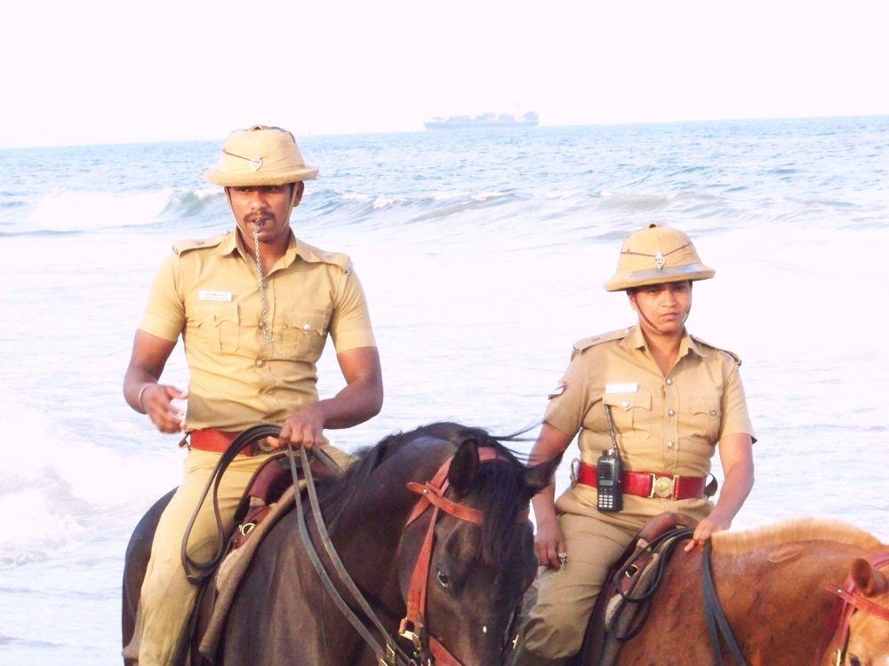 Chennai City Muonted Police Patroling Beach