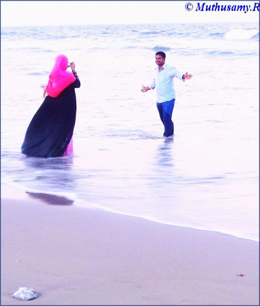 Affectionate Young Muslim Couple at Chennai Beach