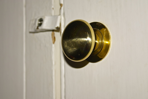 Close up of landing airing cupboard doorknob.