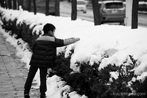 Touching the snow