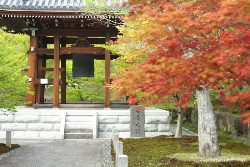 bell-tower maple Chishakuin temple Kyoto