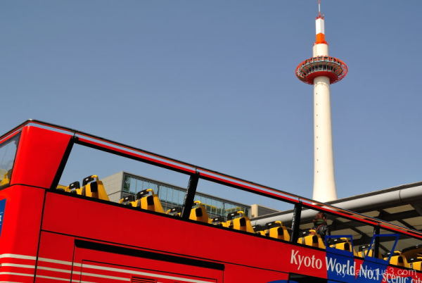 kyoto-tower open-top bus framing kyoto