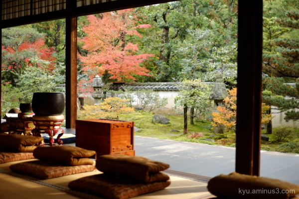 autumn red-maple Zazen temple Kyoto
